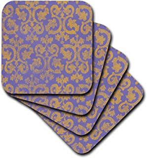 3dRose cst_151438_3 Grunge Gold and Purple Damask-Faded Yellow-Victorian Wallpaper Swirling Vintage Pattern-Ceramic Tile Coasters, Set of 4