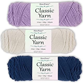 Soft Acrylic Yarn 3-Pack, 3.5oz / Ball, Light Lavender + Eggshell White + Chambray Blue. Great Value for Knitting, Crochet, Needlework, Arts & Crafts Projects, Gift Set for Beginners and pros Alike