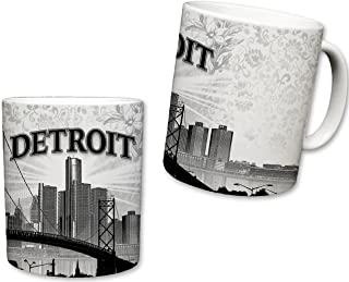 Sweet Gisele | City of Detroit Inspired Mug | Ceramic Coffee Cup | Downtown Skyline | Motor City Design | Vintage Detailing | Red Ford Mustang Forefront | Great Novelty Gift | 11 Fl. Oz (Red/Grey)