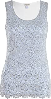 Womens Casual Formal Embroidered Lace Sequin Sleeveless Shirt Tank Top