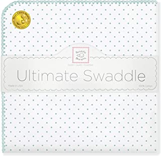 SwaddleDesigns Ultimate Swaddle, X-Large Receiving Blanket, Made in USA Premium Cotton Flannel, SeaCrystal Polka Dots (Mom's Choice Award Winner)
