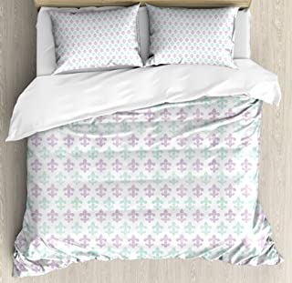 Ambesonne Fleur De Lis Duvet Cover Set, Abstract Old Fashioned Lily Flowers with Grunge Look Pastel Colors, Decorative 3 Piece Bedding Set with 2 Pillow Shams, Queen Size, Green Lilac