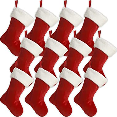 """Black Duck Brand Set of 12 18"""" Red Velvet Stocking (12 Pack) W/White Plush Cuff & Red Hanging Tag"""