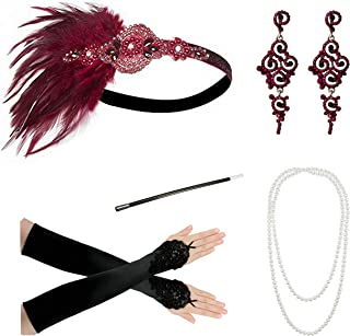 1920s Accessories Headband Necklace Gloves Cigarette Holder Flapper Costume Accessories for Women