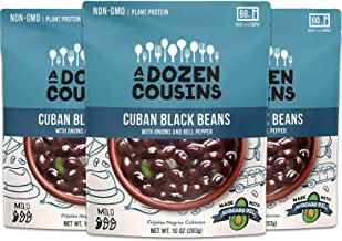 A Dozen Cousins Cuban Black Beans - Ready To Eat Beans, Vegan Food, Plant Protein for Meals, 10 Ounce (Pack of 3)