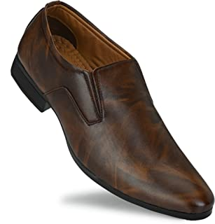 PLOTA Men's Black/Brown Formal Shoes