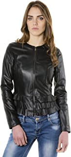 Giacca in pelle nera donna con balze Made in Italy