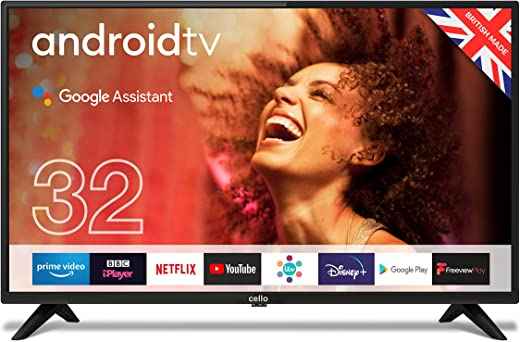 """Cello C3220G 32"""" Smart Android TV with Freeview Play, Google Assistant, Google Chromecast, 3 x HDMI and 2 x USB Made in the UK 2021 Model"""