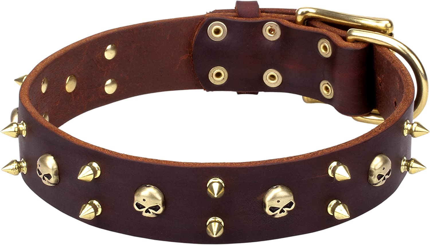 18 inch Black Leather Canine Collar with BrassPlated Spikes and Skulls   Hard Rock   1 3 5 inch (40 mm) wide