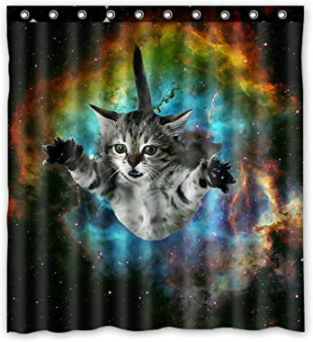 """Space Cat Water-Proof Polyester Fabric (66"""" x 72"""" ) Shower Curtain"""