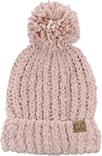 C.C Women's Chenille Soft Stretchy Pom Cuffed Knit Beanie Cap Hat