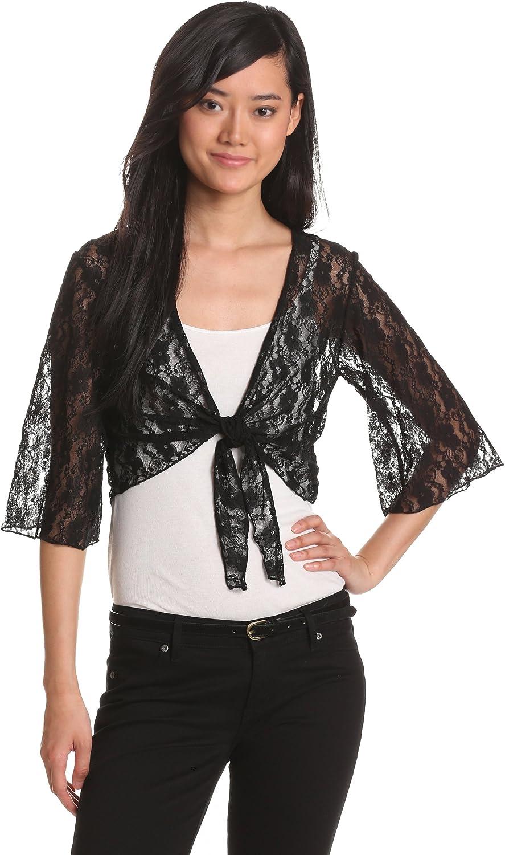 Star Vixen Women's 3/4 Sleeve Lace Tiefront Shrug Sweater