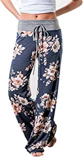 Women's Comfy Stretch Floral Print Drawstring Long Wide Leg Lounge Pants