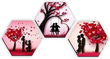 SAF Set of 3 Hexagon Valentine couple UV Textured self adeshive Home Decorative Painting 17 Inch X 17 Inch SANFHXS31098