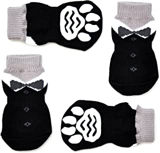 Posch Anti-Slip Knit Socks for pets with Traction Soles for Indoor Wear, Slip On Paw Protectors
