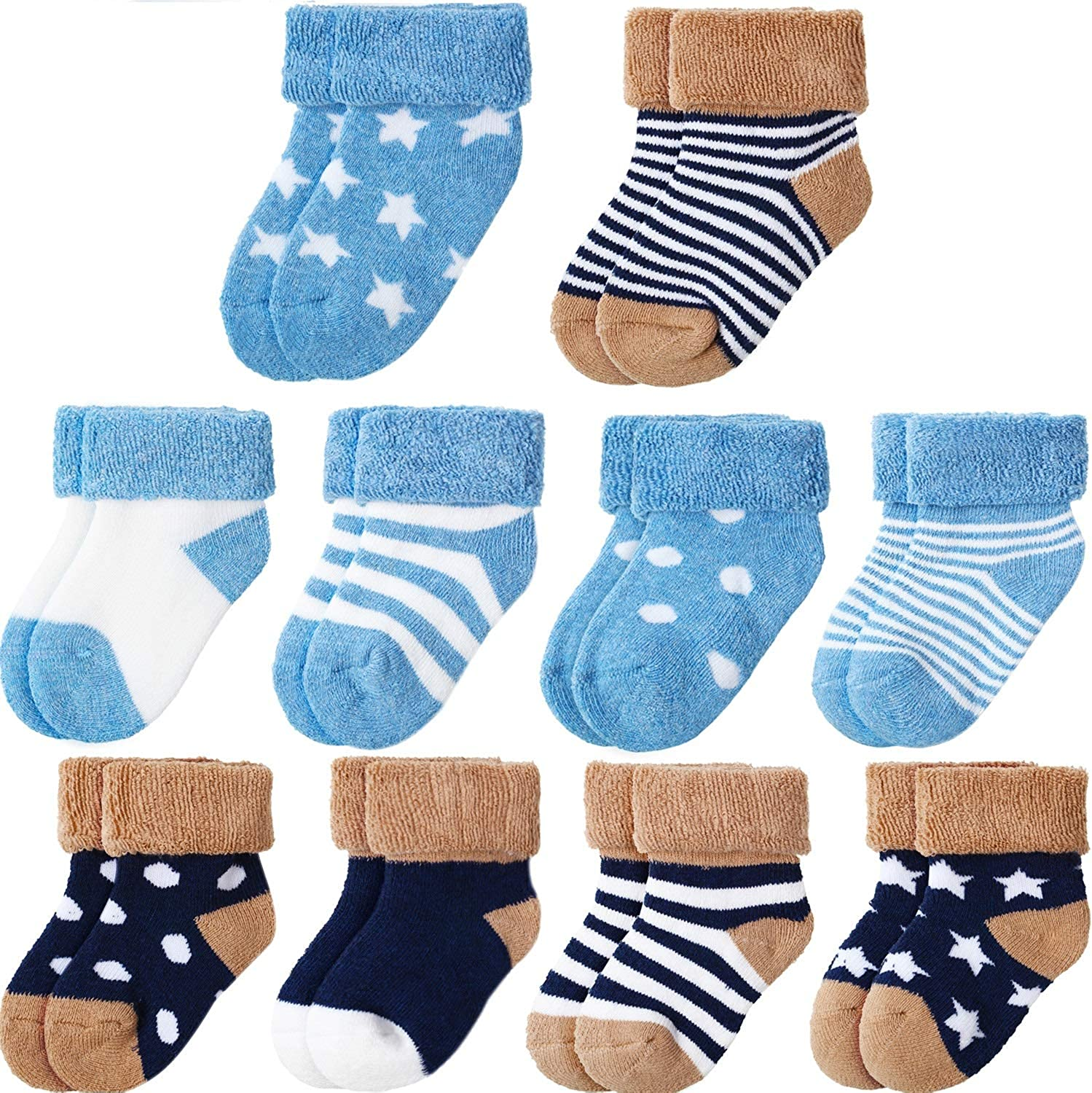 10 Pairs Baby Turn Cuff Socks Toddlers Infant Ankle Socks Warm and Socks (Navy, Light Blue)