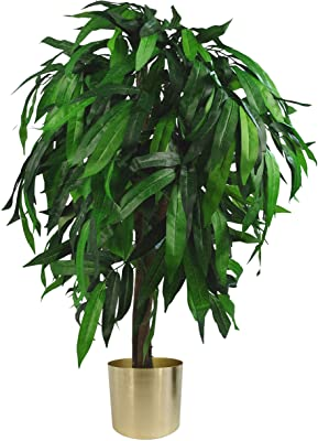 Leaf Design UK - Maceta de plástico para árbol de Mango Artificial, Color Verde y Dorado, 100 cm (LEAF-7237-7201)