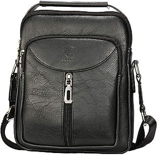 Elios Black Front Zipper PU Leather Large Capacity Work Travel Wear Messenger Bag For Men