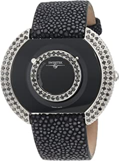 SK47804L Limited Edition Swiss Black Diamonds Watch With Blue Sapphire Set Crown, Genuine Stingray