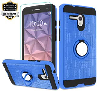 Alcatel OneTouch Fierce XL Case with HD Screen Protector,Atump 360 Degree Rotating Ring Holder Kickstand Bracket Cover Phone Case for Alcatel Pop 3 5.5