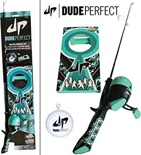 DUDE PERFECT Rod and Reel - Pole Combo for Adults and Kids   with Trick Shot Game and Trick Shot Casting Plug   One-Button Spincast   6 lb. Line  Dual Eyelet   Boys and Girls