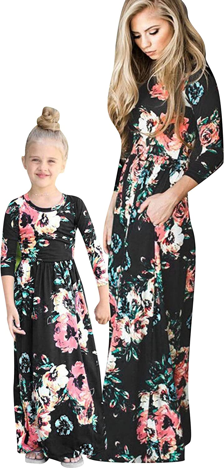 OMZIN Mommy and Me Dress Bohemia Floral Printed Matching Long Dresses for Mother's Day Black Flower 7-8
