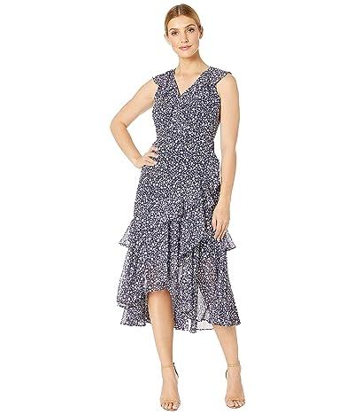 Maggy London Petal Scroll Printed Chiffon Dress (Navy/Blue) Women