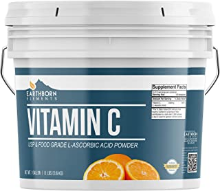 Earthborn Elements Vitamin C Powder (L-Ascorbic Acid) Antioxidant, Resealable Bucket (1 Gallon)