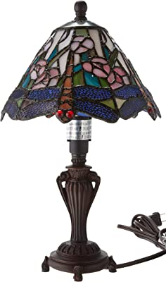 Dale Tiffany 8033/640 Tiffany/Mica One Light Accent Table Lamp from Miniature Collection Dark Finish, 8.00 inches, Antique Bronze