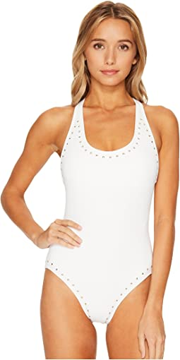 MICHAEL Michael Kors Luxe Studs Cross-Back One-Piece Swimsuit w/ Studs & Removable Soft Cups