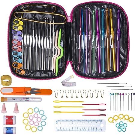 Kit de ganchillo ganchos de ganchillo de aluminio multicolor Juego de agujas de tejer Ganchos de ganchillo Herramienta de costura de hilo artesanal con bolsa de lona Regla Cinta m/étrica y mango suave