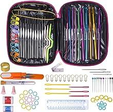 Crochet Hook Needles for Crocheting, 100Pcs Knitting & Crochet Supplies Set with Case, Aluminum Multicolor Yarn Knitting N...
