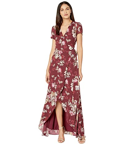 WAYF Zoey Short Sleeve Wrap Dress (Cabernet Floral) Women