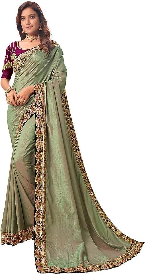 Indian Pratham Blue Women's & Girl's Silk Saree With Blouse Piece (AM-3003 _Light Green) Saree
