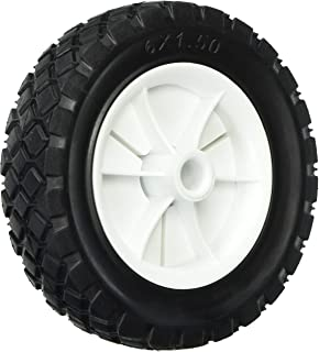 Shepherd Hardware 9610 6-Inch Semi-Pneumatic Rubber Replacement Tire, Plastic Wheel, 1-1/2-Inch Diamond Tread, 1/2-Inch Bo...