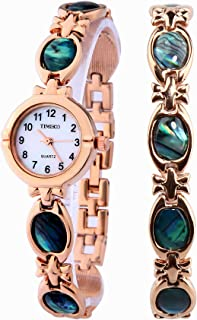 Time100 Women's Quartz Bracelet Chain Watches Fashion Simple Retro Round Shell Dial Plated Alloy Watch for Ladies