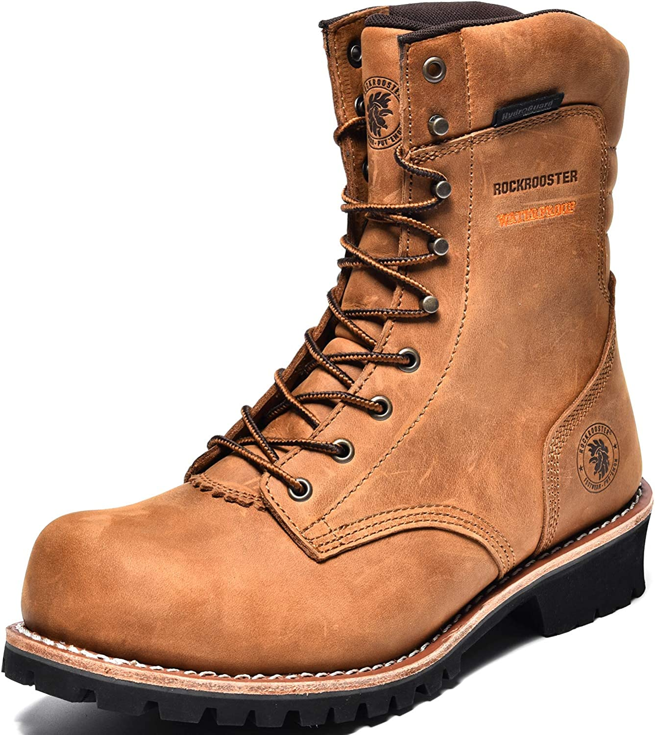 ROCKROOSTER Mens 全商品オープニング価格 Work Boots 9'' Logger Waterproof Shoes 2020A/W新作送料無料 Compos