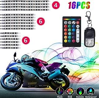 16Pcs Motorcycle LED Lights, HRDJ Strips Kit Multi-Color Accent Glow Neon Lights Lamp Flexible with Remote Controller for Harley Davidson Honda Kawasaki Suzuki Ducati Polaris KTM BMW
