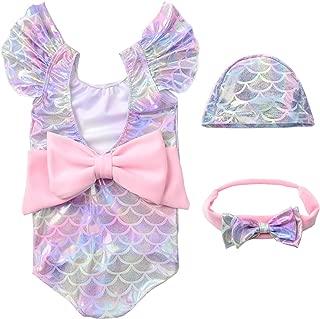Girl Mermaid Swimwear Fish Scale Swimsuit Hat Headband 3PCS Set