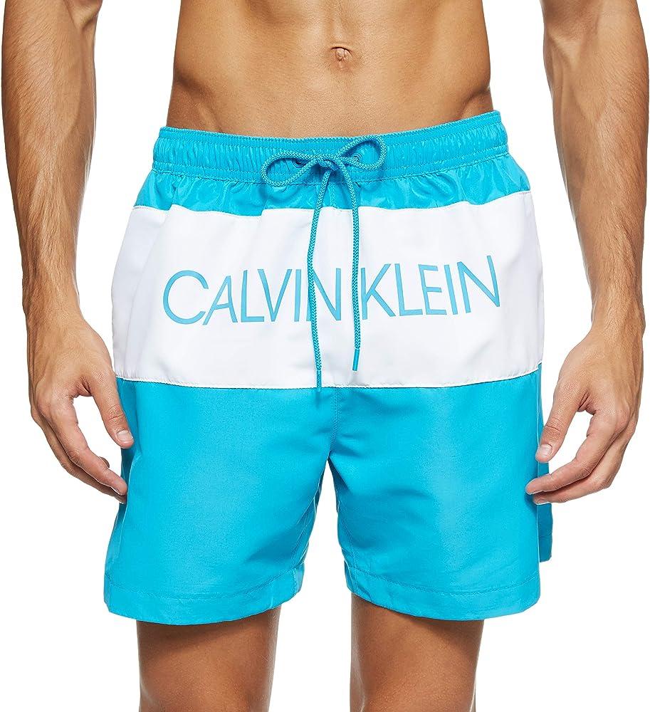 Calvin klein medium drawstring,  costume da bagno a pantaloncini  per uomo,100 poliestere KM0KM00456A