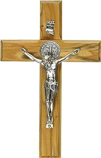15,5 cm kruzifix24 con Inserto in Ottone con Decorazione Color Argento Croce da Parete Devotionalien in Acciaio