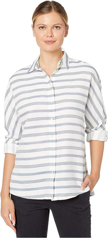 Lacoste Womens Long Sleeve Clean Striped Fluid Cotton Blouse