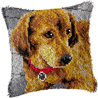 DIY Latch Hook Kits Unfinished Square Pillow Covers Cushion with Printed Canvas 3D Embroidery Pillow Arts Craft Cross Stit...