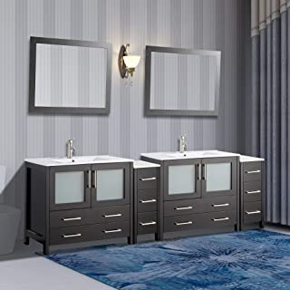 Vanity Art 96 inch Double Sink Modern Bathroom Vanity Compact Set 2 Shelves, 10 Drawers - Ceramic Top Bathroom Cabinet with Free Mirror (Espresso) - VA3036-96-E