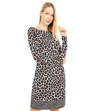 MICHAEL Michael Kors Seventies Cat Long Sleeve Border Dress (Caramel) Women