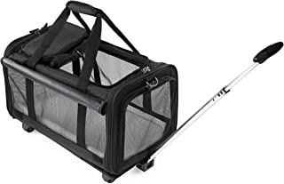 Airline Approved Removable Wheeled Pet Carrier for Medium & Small Dogs/Cats. Upgraded Durable Structural Designed for Greater Strength, Stiffer Mesh Panels and Comfortable Puffy Plush Fleece.