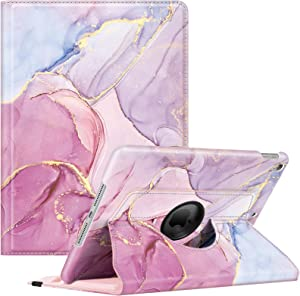 Fintie Rotating Case for iPad 9th Generation (2021) / 8th Generation (2020) / 7th Gen (2019) 10.2 Inch - 360 Degree Rotating Protective Stand Cover w/Pencil Holder, Auto Wake Sleep, Glittering Marble