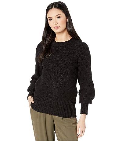 kensie Varigated Cotton Blend Crew Neck Sweater KS0K5940 (Black) Women