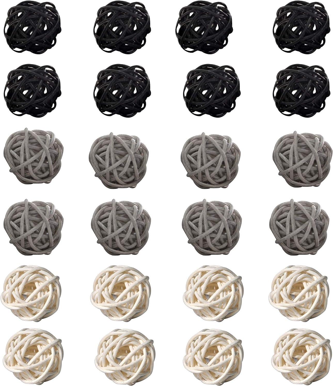 Simoutal 24PCS Decorative Rattan Balls,Perfect Ornament for X-MAS,Wedding,Party,Home Decor,Orbs Vase Fillers(3cm,Black-Gray-White)