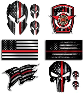 Mega Variety Pack of 10 Thin Red Line Firefighter Fire Department Fire Truck Red Lives Matter Decal Sticker Car Truck RLM(10 Pack)